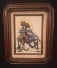 "Vintage NORMAN ROCKWELL Ceramic Framed Print ""THE LITTLE SPOONER"""