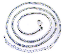 Necklace Chain Snake White Silver Plate Adjustable 19 20 21 Inch, 3mm Thick