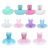 Kids Girls Lyrical Ballet Dance Dress Ballerina Tutu Leotards Gym Skirts Costume