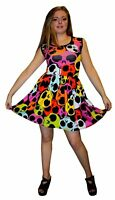 LADIES MULTI RAINBOW SKULLS ROCKABILLY SWING SLEEVELESS DRESS GOTH PUNK EMO