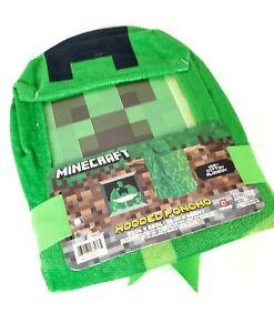 Minecraft Kids Bath Towel Hooded Poncho Creeper Green Bath Beach Swim