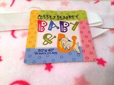 Cuddly Blanket BABY & U 30 x 40 inches Pink Mink Soft Moon & Stars Pattern