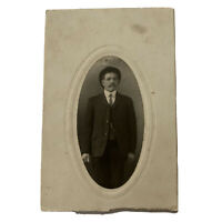 Antique Cabinet Card Photograph Handsome Man Mustache Hat Photo