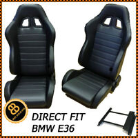 PAIR BB4 Reclining Tilting Bucket Racing Sports Seats Black + Sub Frames BMW E36