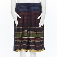 runway DRIES VAN NOTEN acetate polyamide navy stripe culotte shorts FR38