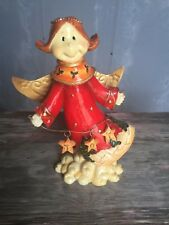 Vintage Whimsical Christmas Holiday Angel Statue JOY Red Dress Metal Wings Resin