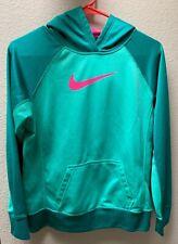 NIKE Therma-Fit Hoodie Size Medium Aqua & Berry Girls Pullover Sweatshirt  Kids