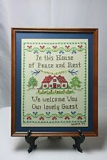 "Vtg Finished & Framed Cross Stitch Sampler ""In This House of Peace and Rest~9x12"