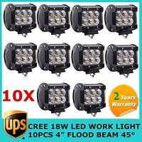 """10X18W 4""""  FLOOD 45° LED WORK LIGHT 12V&24V FIT TRUCK JEEP 4WD FOG SUV OFFROAD"""