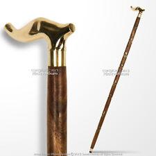 "36"" Handmade Sheesham Wood Walking Cane Stick with Brass Handle & Art Deco Shaft"