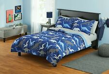 Your Zone Blue Dinosaurs Bed in a Bag Kids Bedding Set, Full Size, 7 Pieces