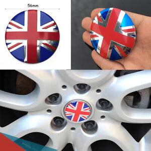 "Red Union Jack 3D Metal Car Wheel Center Hub Cap Sticker Decal Emblem 56mm/2.20"""
