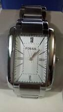 Fossil Men's PR5412 Analog Rectangle Silver Dial Silver-Tone Stainless Steel