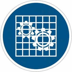 """Cartelli di obbligo ISO 7010 """"Verificare l'efficienza della protezione"""" M027"""