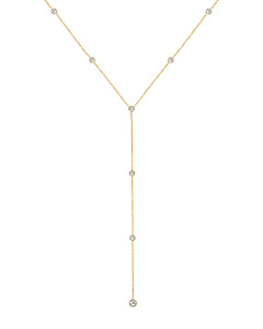 14K Yellow Gold Y-Style Gemstone Necklace With Round White Topaz 20 Inches