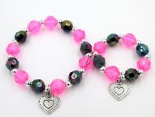 """Matching girl and 18"""" doll bracelets jewelry accessory heart charm"""