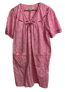 Vintage Moon Dance Floral Pearl Snap Duster House Coat Dress 2X Pink Pockets