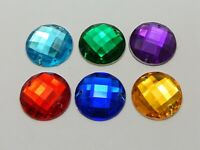 50 Acrylic Faceted Round Flatback Sewing Rhinestone Gems 20mm Sew on beads