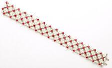 Tiffany & Co Trellis 18K Gold 9.11ct Ruby 9.13ct Diamond Bracelet