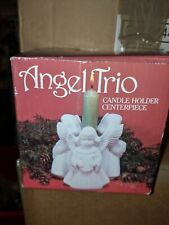 Candle Holder Taper Bisque Porcelain Angel Trio White Vintage New in box