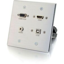 C2G HDMI, VGA, 3.5mm and USB Pass Through Double Gang Wall Plate - Aluminum