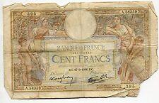 BILLET FRANCE  100  FRANCS   MERSON  17 / 3 / 1938