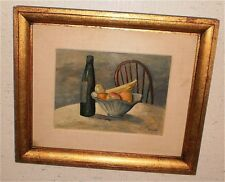 Still Life Bottle & Fruit Oil Painting-1952-Frank Zuccarelli