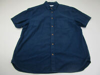 Old Navy Button Up Shirt Adult 2XL XXL Blue Cotton Casual Short Sleeve Slim Mens