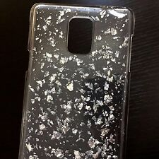 Samsung Galaxy Note 4 - HARD BACK PROTECTOR SILVER CLEAR SHINY FOIL CASE COVER