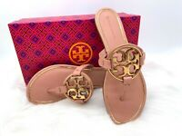 NIB $248 TORY BURCH Miller Metal Logo Pink Moon Leather Thong Sandal Sz 8M