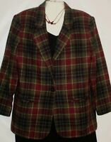 Womens Jacket Blazer Burgundy Plaid Print Wool Blend Size 14 Sag Harbor