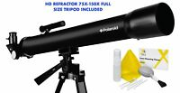 """HD REFRACTOR TELESCOPE 75X-150X WITH FULL 57"""" TRIPOD INCLUDED + CLEANING KIT"""