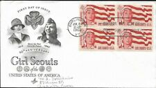 USA 1962 FIRST DAY COVER, IN BLOCK OF 4 GIRL SCOUT ISSUE, SENIOR GIRL SCOUT FLAG