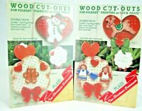 PLAID Wood Cut Out Christmas Ornament Craft Kit Folk Art Painting Cut Paste 1987