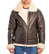 Mens Dark Brown B-3 Aviator White Sheepskin RAF Pilot WW2 Flying Bomber Jacket
