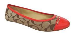 New NIB Coach Darena Signature Patent Leather Ballet Flats Khaki Flame Red Coral