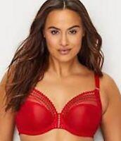 Elomi Matilda Underwire Plunge Bra #8900 UK Sizes DD-JJ Flame Red NWT $69