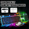 Gaming Keyboard And Mouse Set Rainbow LED Wired USB For PC Laptop PS4 Xbox