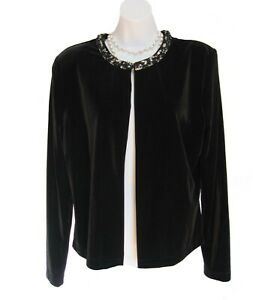 Beaded Stretch Velvet Jacket Size 12 L STEAMPUNK Open Placket CACHET Topper Flaw