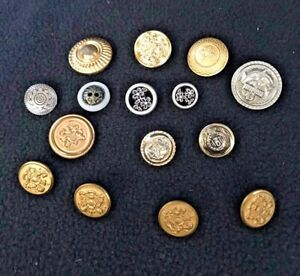 Buttons Assortment 16 Vintage  - Gold / Silver tone Metal Crafts