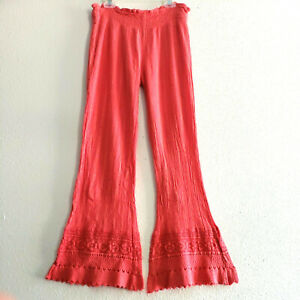 Cute Options Flared Pants Crochet Ruffle Beach Cover Up in Coral,Sz S