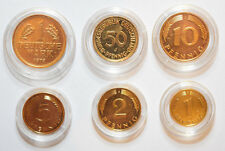 Germany: 6 plated collectible coins. 1 Mark, 50 Pfennig, 10, 5, 2, 1.
