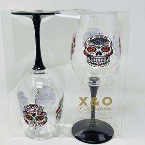 C.R. Gibson Day of The Dead Sugar Skull Acrylic Wine Glass Set, 16 oz, 2pcs RARE