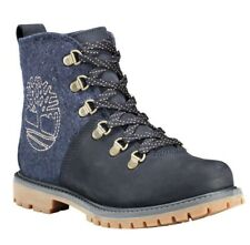 TIMBERLAND WOMEN'S 6 INCH D-RING MIXED MEDIA HIKER BOOTS BLUE Size 10