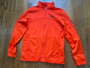 Under Armour Boys Orange Zip Front Loose Fit Athletic Jacket YLG