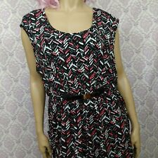 Womens 2X Sleeveless Stretch Dress Black Pink Chevron Print Gold Metal Detail