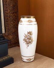 "DeLuxe Inc USA Hand Painted Gold Roses Flowers 12 1/2"" Milk Glass Vase Vtg RARE!"