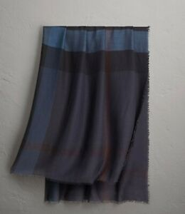 Burberry Unisex Navy Silk/Modal Lightweight Check Large Square Scarf 40173451