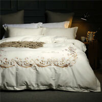 long staple pure cotton bedding set 4pcs embroidered duvet cover bed sheet white