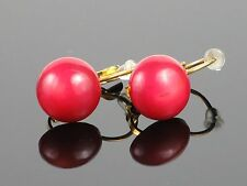 Vintage Natural Sardinian Red Coral Cabochon GP Dormeuse Pierced Earrings, 3.7g